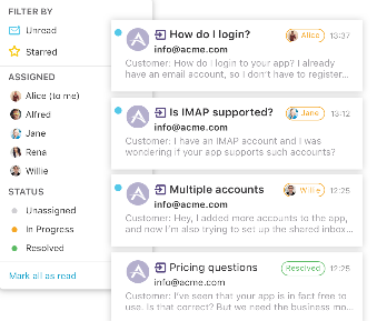 An image of Loop Email Shared inbox feature.