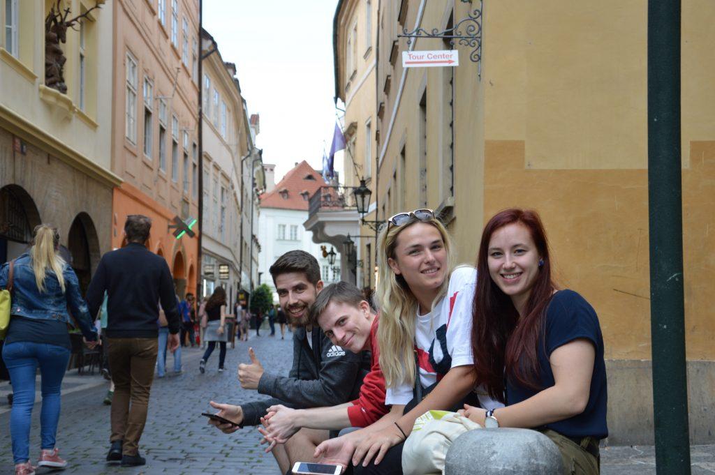 Team one exploring Prague.