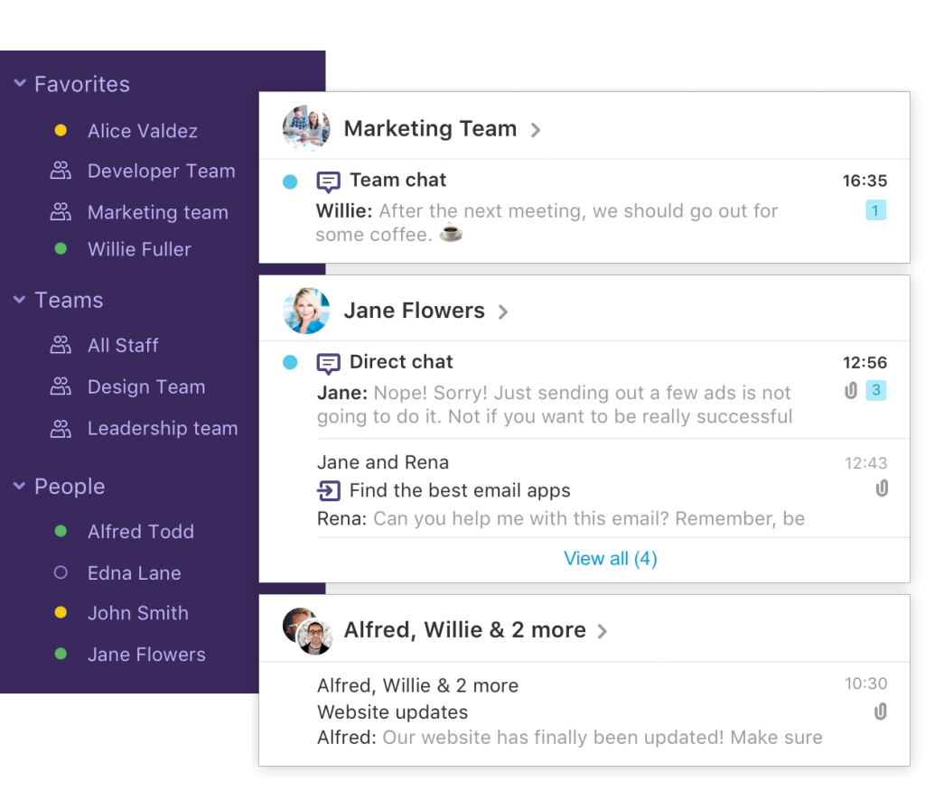 An image of Loop Email app with channels.