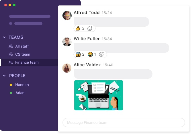 Team chat in shared inbox